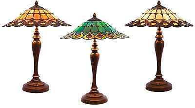 "21.75""H Tiffany Style Stained Glass Geometrical Table Lamp - Choose your color"