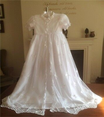 New Vintage Style Long White Girls Christening Baptism Gown 3 6 9 12 15 18 Mth
