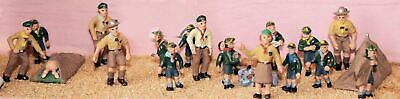 Langley Models Cub + Scouts camp 1930 8 figs 1 tent OO Scale PAINTED F195p