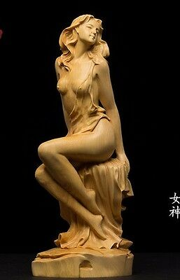 JP093 - 15 CM High Carved Boxwood Carving Figurine - Beautiful Girl Lady Woman