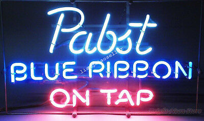"""17""""X14"""" NEW Pabst Blue Ribbon On Tap PBR Beer Bar REAL NEON LIGHT SIGN Free Ship"""