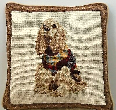 "Brand New English Cocker Spaniel Dog Handmade Needlepoint Pillow 10"" by 10"""