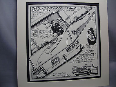 1959 Plymouth Sport Fury Auto Pen Ink Hand Drawn  Poster Automotive Museum