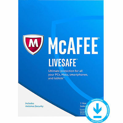 Antivirus McAfee LiveSafe 2017 Protection PC/Mac/Android/ios plus de 10pc  2 Ans
