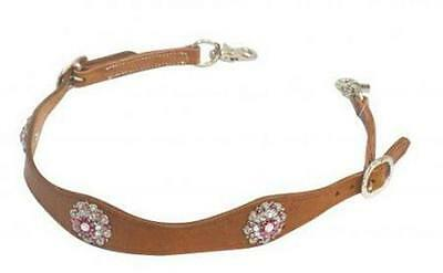 Showman MEDIUM OIL Leather Wither Strap PINK Rhinestone Concho NEW HORSE TACK!