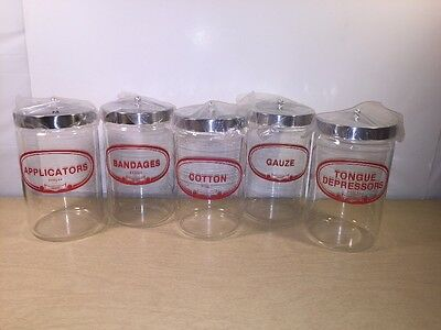 "Set of 5 Vintage Pyrex Apothecary Medical Glass Jars 7"" - Doctor Office New"