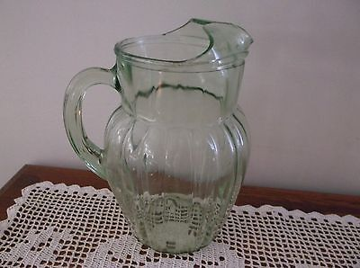 Beautiful Vintage Green Depression Glass Pitcher With Ice Lip