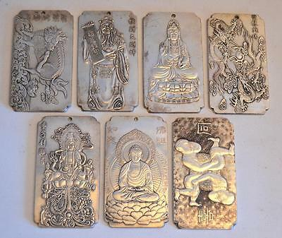 Collection of 7 Chinese Engraved Silvered Bronze Plaques and Scroll Weights