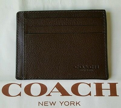 Men's Coach Sport Calf Leather Card Case ID Wallet in Mahogany Brown F75022
