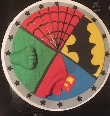 Superhero Edible Plaque CAKE TOPPER Spider-Man Batman Hulk Superman
