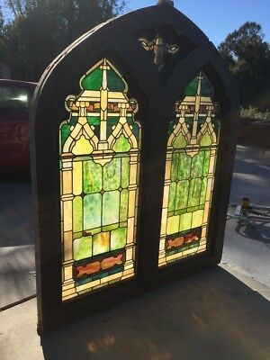 Majestic Antique Stained Glass Church Wooden Window Door Salvaged Architectural
