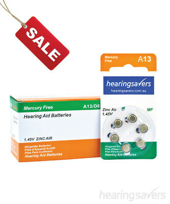 Box of HEARING SAVERS Hearing Aid Batteries size 13 (60 cells)