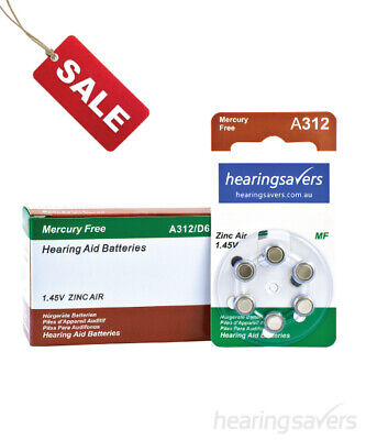 Box of HEARING SAVERS Hearing Aid Batteries size 312 (60 cells)