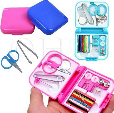 Mini Sewing Kit Case Needle Thread Tape Scissor Set Size Handcraft Travel Home