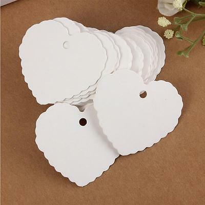 50 Pieces White Heart Shape Kraft Paper Hang Tags Party Label