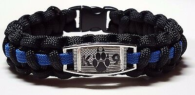 K9 Paw with US Flag Police Dog Thin Blue Line Police Officer Paracord Bracelet