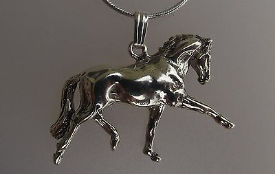 Dressage Horse Trot Pendant  Sterling Silver Zimmer Equestrian Jewelry
