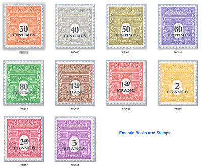 EBS France 1945 Allied Provisional Stamps YT 702-711 Michel 649-658 MNH**