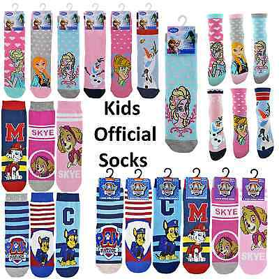 Childrens Kids Boys Girls Official Paw Patrol Frozen Character Socks 3 to 12 1pr