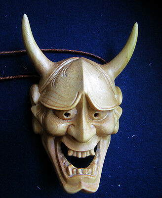 QH001- 7.8*5.2*3 CM Hand Carved Boxwood carving Netsuke :  prajna Devil Mask