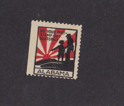 Vintage Poster Stamp Label ALABAMA Stamp out Illiteracy RISING SUN  #IM