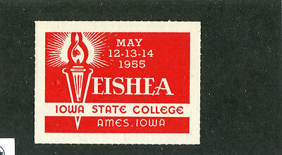 Vintage Poster Stamp Label IOWA STATE COLLEGE Ames May 1955 Veishea #IM