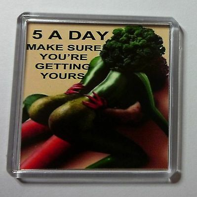 Rude 5 A Day Fruit  Fridge Magnet Free P & P