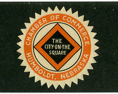 Vintage Poster Stamp Label HUMBOLDT NE Chamber of Commerce City on  Square  #IM
