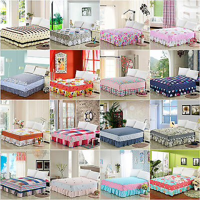 A-Series 100% Cotton Single Piece Bed Skirt Twin Full Queen King Free Shipping