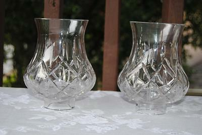 "Set of 2 Diamond Cut Pressed Glass Sconce Shades 7"" Heavy BEAUTIFUL!!"