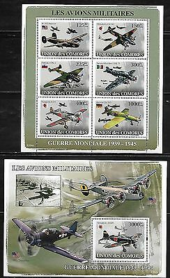 Comoro Islands 993-94 WWII Military Aircraft Mint NH