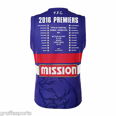 Western Bulldogs 2016 Premiers Guernsey Adults Sizes 3XL & 5XL + Kids 8 & 10 BLK