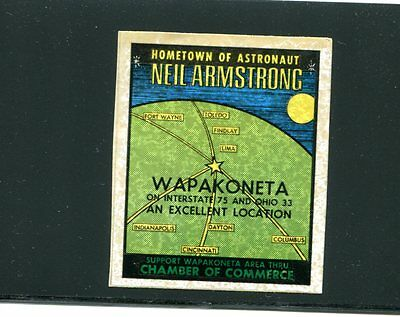 Vintage Poster Stamp Label WAPAKONETA OH Hometown Neil Armstrong