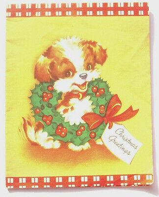 Puppy dog in wreath of holly Christmas vintage greeting card C*