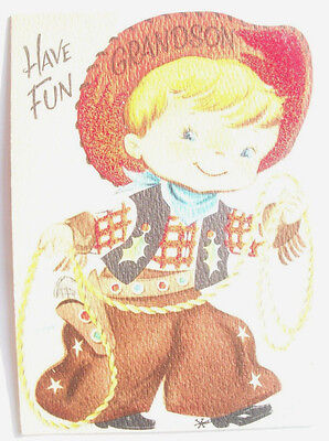 Cowboy western rodeo to grandson Christmas vintage greeting card C*