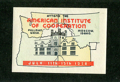 Vintage Poster Stamp Label MOSCOW ID & PULLMAN WA 1938 Inst of Cooperation  #IM