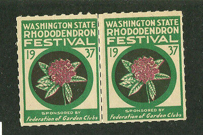 Vintage Poster Stamp Label pair WASHINGTON State RHODODENDRON FESTIVAL 1937
