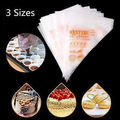 3 Size 100pcs Plastic Disposable Pastry Icing Piping Cake Cupcake Decorating Bag