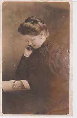 Woman Reading RPPC 1910 - 1920 Vintage Unused Postcard