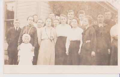 Group Family People Outside RPPC 1910 - 1920 Vintage Unused Postcard