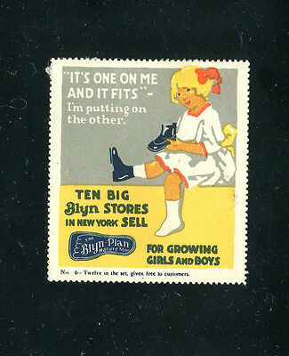 """Vintage Poster Stamp Label BLYN PLAN SHOES No 6 girl """"Its one on my & it fits"""""""