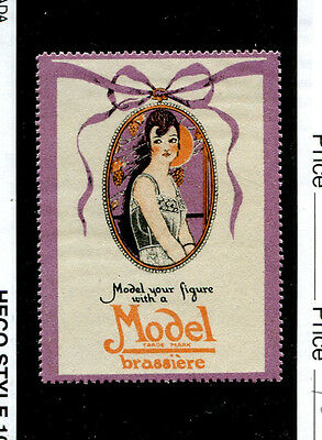 Vintage Poster Stamp Label MODEL BRASSIERE Underwear Bra Ladies   #IM