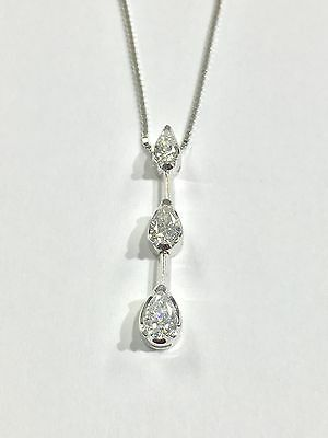 14k White Gold Necklace With 3 Graduated Pear Shaped Diamonds Pendant