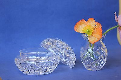 Vintage cut glass trinket box, and small vase,  jewelry box.
