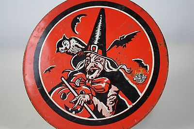 Vintage Witch And Bats Halloween Noisemaker US Metal Toy MFG Co TESTED & WORKS