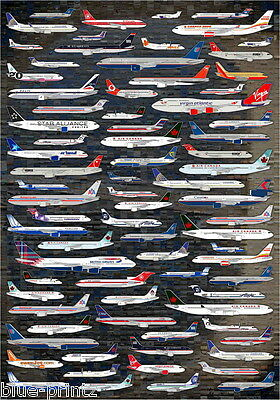 """plane collection airline print  poster  For Your glass Frame 36"""" x 24"""" painting"""