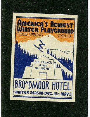 Vintage Poster Stamp BROADMOOR HOTEL Colorado Springs Newest Winter Playground