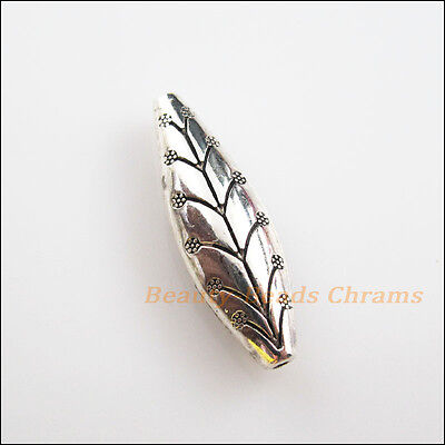 4 New Charms Tibetan Silver Tone Oval Leaf Flower Spacer Beads 9.5x30mm