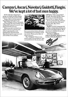 ALFA ROMEO 1750 SPIDER RETRO A3 POSTER PRINT FROM CLASSIC 60's ADVERT
