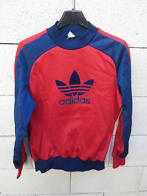 VINTAGE Sweat ADIDAS Monaco rouge bleu Trefoil 1980 VENTEX nylon made in France